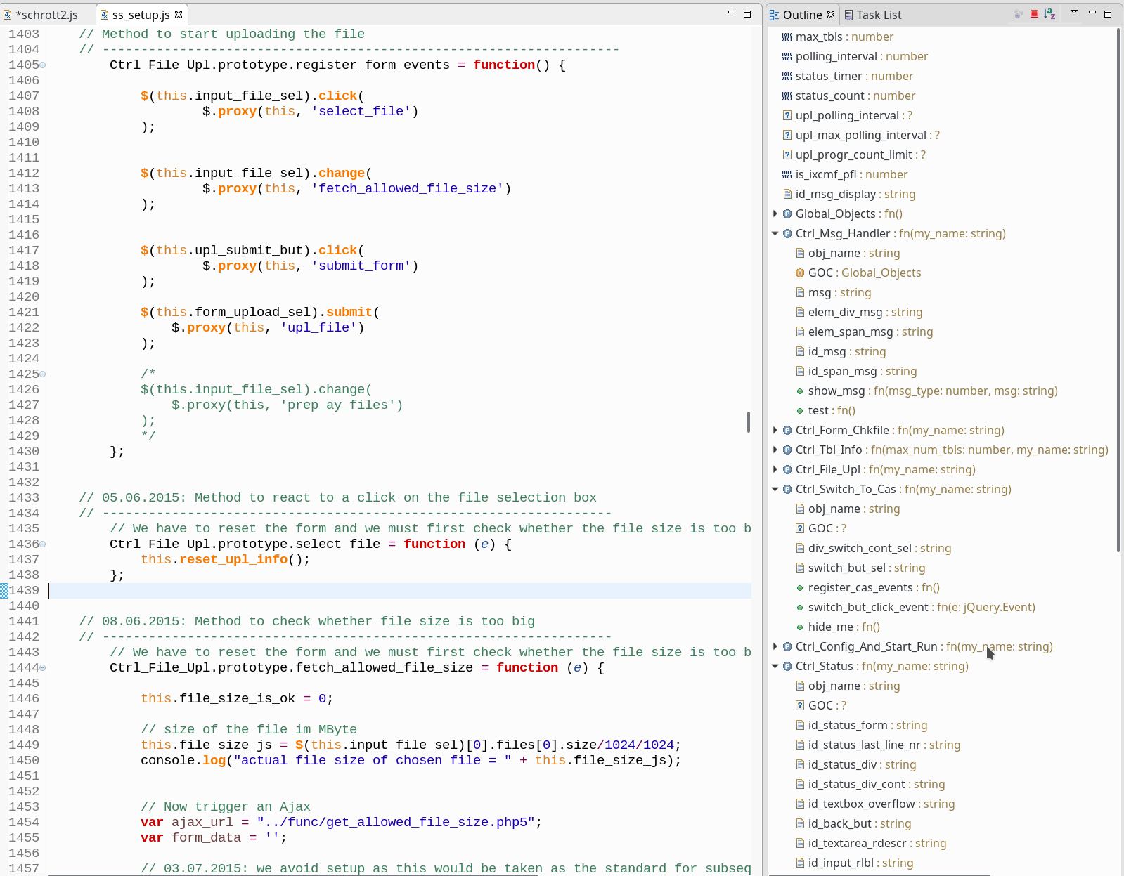 Webclipse JSjet, Eclipse Neon 2 and the Outline View – what I like
