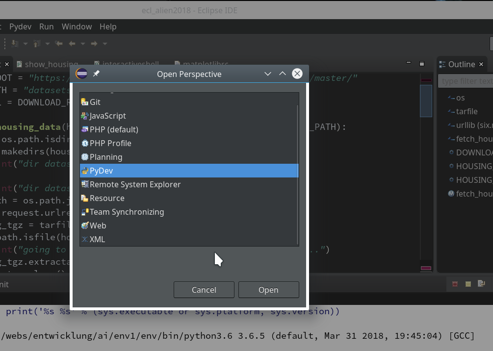 Eclipse, PyDev, virtualenv and graphical output of